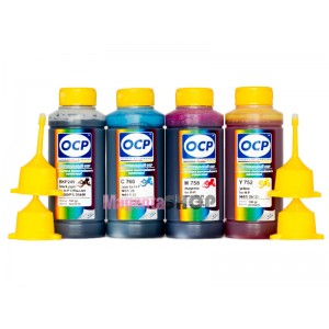 OCP BKP 249, C 760, M 758, Y 752 100гр. 4 штуки - чернила (краска) для картриджей HP: 650, 678