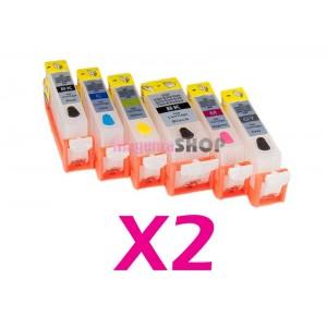 ПЗК NON-Stop с чипами для принтеров Canon PIXMA MG6140, MG8140, MG6240, MG8240. 2 комплекта по 6 штук