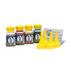 OCP BKP 249, C 760, M 758, Y 752 4 штуки по 25 грамм - чернила (краска) для картриджей HP: 27, 56, 140, 301, 28, 57, 141