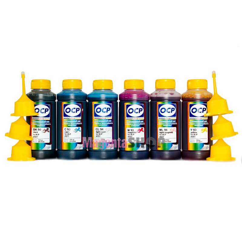 OCP BK 90, C, M, Y 93, ML, CL 94 100гр. 6 штук - чернила (краска) для картриджей HP: 177