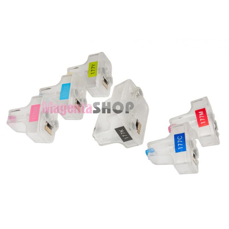 ПЗК HP 177 - перезаправляемые картриджи (с чипами) для HP PhotoSmart: 3313, C5183, C6283, D7263, 3213, C5180, D7163, D7363, 3100, 3210, C6183, D7160, D7168, D7260, 3310, C8183, C8250, C8253, D7180